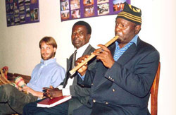 There was also music - Chris Forgwe doing the US and Cameroon anthems with a local instrument